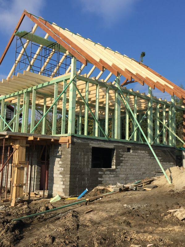 domy mieszkalne drewniane - W trakcie budowy