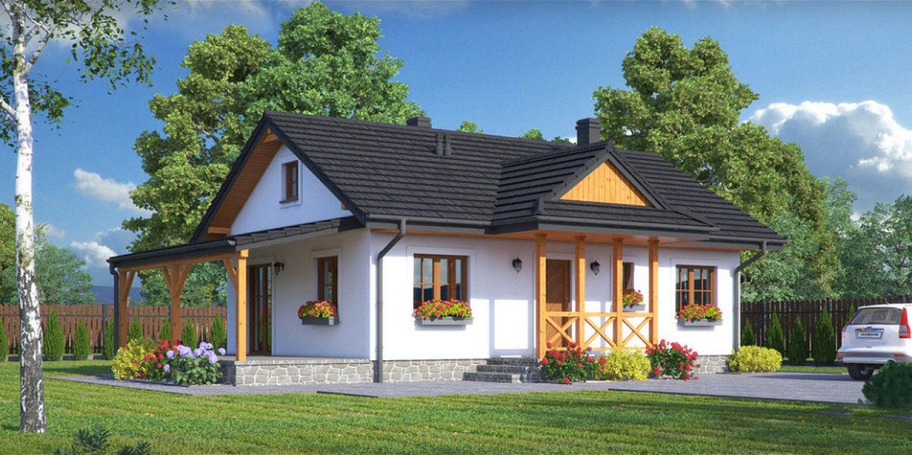 mieszkalne domy drewniane - Domy drewniane w elewacji tynkowanej